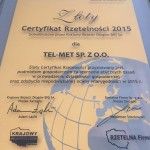 certyfikat rzetelności 2015